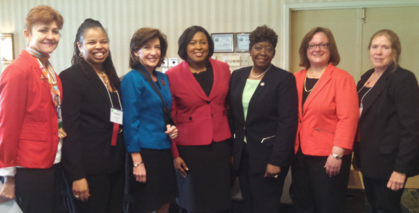 Mayor Warren (center) and NYS Lieutenant Governor Kathie Hockul (3rd from left) speaking at NYS AAUW Convention
